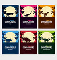 posters collection world of dinosaurs prehistoric vector image