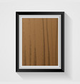 realistic wooden photo frame on white background vector image