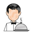 restaurant waiter with tray avatar character vector image vector image