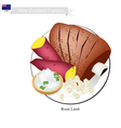 Roasted Lamb The Popular Dish of New Zealand vector image vector image