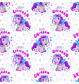 seamless pattern with cute cartoon purple unicorn vector image vector image