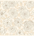seamless pattern with lily roses and leaves vector image
