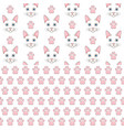 seamless patterns with white cat face and paw prin vector image