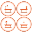 set interior icons with table lamp vector image vector image