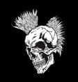 skull hair punk vector image vector image