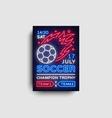 soccer poster neon football postcard flyer vector image