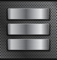 steel plates on metal perforated background vector image vector image