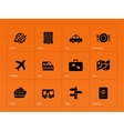 Travel icons on orange background vector image vector image