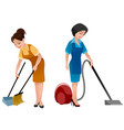 two cleaning women vector image vector image
