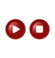 Two red glossy buttons vector image