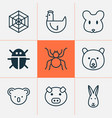 zoo icons set collection of piglet marsupial vector image vector image