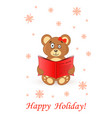cute bear teddy card greeting happy holiday vector image