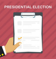 hand holding ballot paper vector image