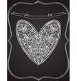 white heart shape on black chalk board vector image