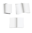 Set of 3 opened magazines with blank pages vector image