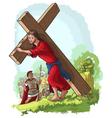 jesus christ carrying cross vector image