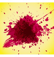 Abstract red splash on yellow background vector image