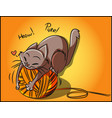 adorable playful kitty playing with an orange clew vector image vector image
