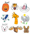animal set print hand drawing vector image