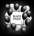 bunch of black white balloons frame black friday vector image vector image