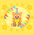 cartoon background with cat vector image vector image