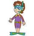 cartoon snorkel diver vector image