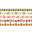 christmas border seamless pattern red green vector image