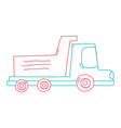 color line dump truck industry and contruccion vector image vector image