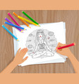 coloring picture with meditating woman vector image vector image