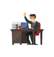 content businessman character in office vector image vector image