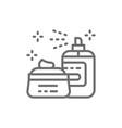 cosmetics hair spray gel face mask line icon vector image