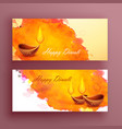 diwali banners card with diya and watercolor vector image vector image