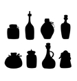 Doddle Black silhouette jars and bottles vector image vector image