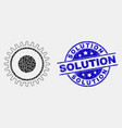 dotted gear icon and scratched solution vector image vector image