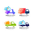 fast delivery logo design courier logo design vector image vector image