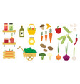 flat set of organic food icons fresh vector image