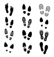 Footprints and shoes footmark silhouette vector image