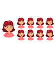 girl emotions set female face doubt and horror vector image vector image