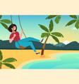 girl swinging on swing on beach vector image