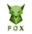 green fox head polygon vector image vector image