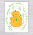 hand drawn poster with jar full of pumpkin with vector image vector image