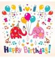 Happy Birthday cute elephants card vector image vector image