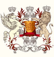 heraldic design with shield winged horse and lion vector image vector image