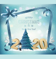 holiday background with 2020 and christmas tree vector image vector image
