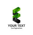 initial letter e logo template colored grey green vector image vector image