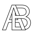 logo ab icon sign two interlaced letters a b vector image vector image