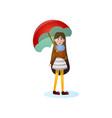 long hair smiling girl walking under rain vector image vector image