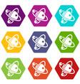 molecule dna icons set 9 vector image vector image