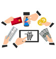 payment methods confirmed finance people hands vector image