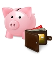 Piggy bank with wallet poster vector image vector image